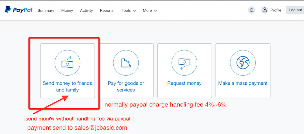 how to pay without handling fee?